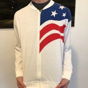 VINTAGE American Flag Zip Up jacket!